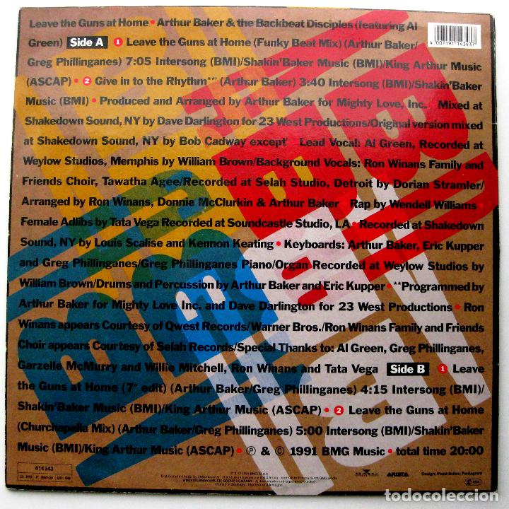 Discos de vinilo: Arthur Baker & The Backbeat Disciples - Leave The Guns At Home - Maxi Arista 1991 Germany BPY - Foto 2 - 252938035