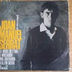 Discos de vinilo: ** JOAN MANUEL SERRAT - UNA GUITARRA / LA MORT DE L'AVI + 2 - EP AÑO 1965 - LEER DESCRIPCIÓN. Lote 252986895
