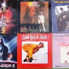 Discos de vinilo: LOTE 6 LP BSO (EXCALIBUR, LOS INMORTALES II, GRAN BOLA DE FUEGO, THE BLUES BROTHERS, MUJER DE ROJO). Lote 253019365