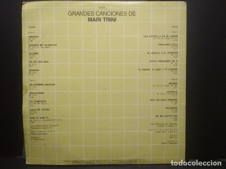 Discos de vinilo: 2 LP MARI TRINI GRANDES CANCIONES - DOBLE LP GATEFOLD HISPAVOX - 1983 PEPETO - Foto 4 - 253030035