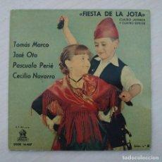 Discos de vinilo: FIESTA DE LA JOTA - TOMÁS MARCO - JOSÉ OTO - PASCUALA PEIRÉ - CECILIO NAVARRO - EP 1961 VINILO ROJO. Lote 253033565