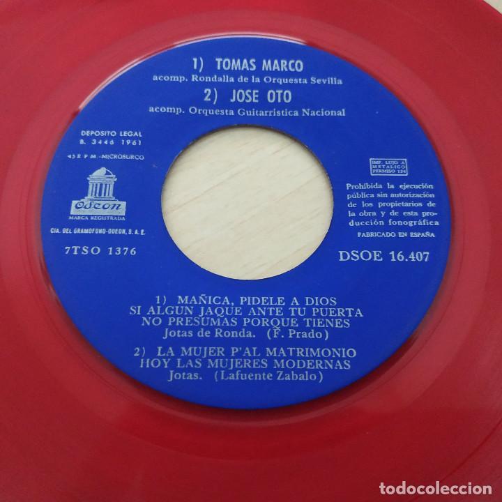 Discos de vinilo: FIESTA DE LA JOTA - TOMÁS MARCO - JOSÉ OTO - PASCUALA PEIRÉ - CECILIO NAVARRO - EP 1961 VINILO ROJO - Foto 3 - 253033565