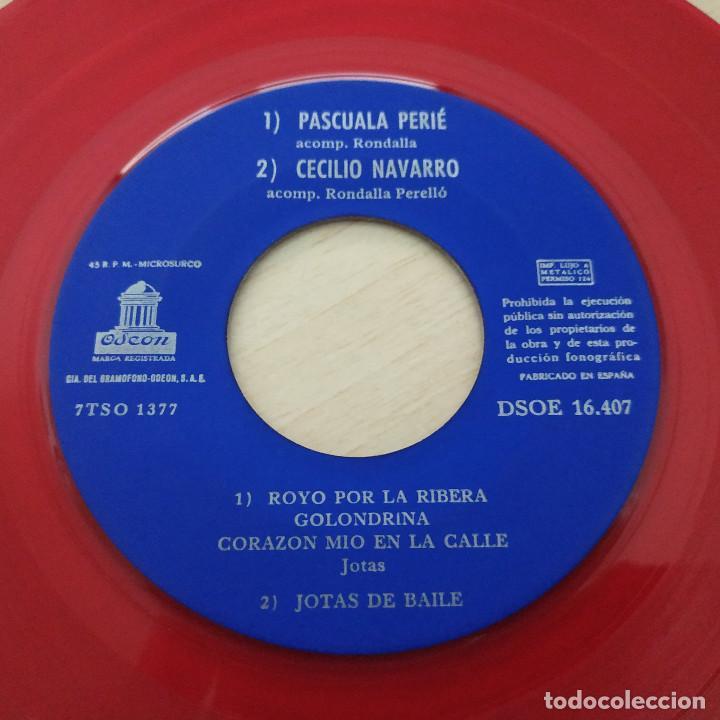 Discos de vinilo: FIESTA DE LA JOTA - TOMÁS MARCO - JOSÉ OTO - PASCUALA PEIRÉ - CECILIO NAVARRO - EP 1961 VINILO ROJO - Foto 4 - 253033565