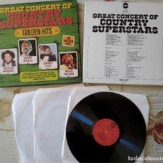 Discos de vinilo: COUNTRY SUPERSTARS - CAJA 3 DISCOS LPS. Lote 253038255