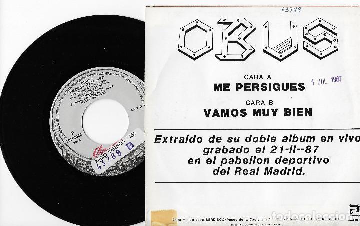 """Discos de vinilo: OBUS 7"""" SPAIN 45 ME PERSIGUES + VAMOS MUY BIEN 1987 SINGLE VINILO HARD ROCK HEAVY METAL CHAPA PROMO - Foto 2 - 253316445"""