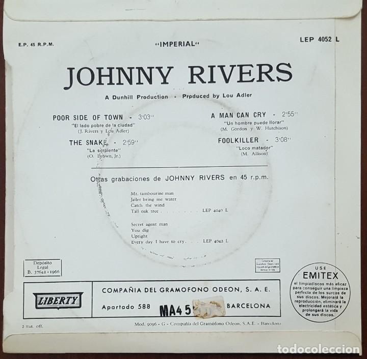 Discos de vinilo: EP / JOHNNY RIVERS / POOR SIDE OF TOWN - THE SNAKE - A MAN CAN CRY - FOOLKILLER, 1966 - Foto 2 - 253318260