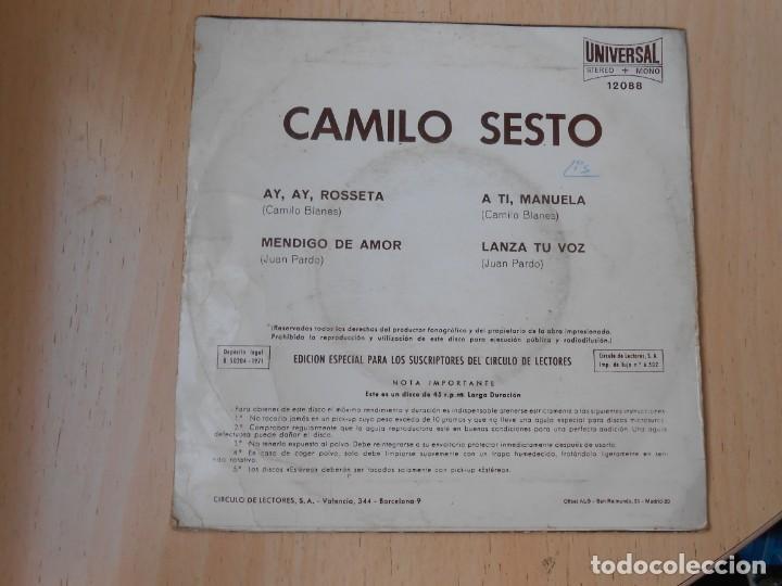 Discos de vinilo: CAMILO SESTO, EP, AY, AY, ROSSETA + 3, AÑO 1971 - Foto 2 - 253606480