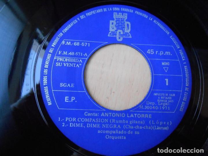 Discos de vinilo: ANTONIO LATORRE y su Orquesta, EP, POR COMPASIÓN + 3, AÑO 1971 - Foto 3 - 253607070