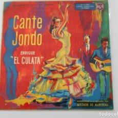 Discos de vinilo: CANTE JONDO. ENRIQUE EL CULATA. ACOMPAÑADO A LA GUITARRA POR MELCHOR DE MAIRENA. UNA GRABACION ALTA. Lote 253636900