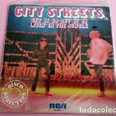 Discos de vinilo: CITY STREETS / GET IT UP GET IT IN / LIVIN' IN THE JUNGLE. Lote 253692770