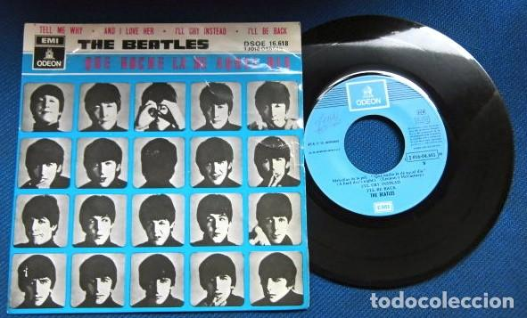 BEATLES SINGLE EP RE EDICION BANDA SONORA QUE NOCHE LA DE AQUEL DIA ESPAÑA AÑOS 70 LABEL AZUL CIELO (Música - Discos de Vinilo - EPs - Pop - Rock Internacional de los 70)