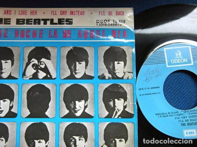 Discos de vinilo: BEATLES SINGLE EP RE EDICION BANDA SONORA QUE NOCHE LA DE AQUEL DIA ESPAÑA AÑOS 70 LABEL AZUL CIELO - Foto 3 - 253789200