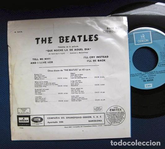 Discos de vinilo: BEATLES SINGLE EP RE EDICION BANDA SONORA QUE NOCHE LA DE AQUEL DIA ESPAÑA AÑOS 70 LABEL AZUL CIELO - Foto 4 - 253789200