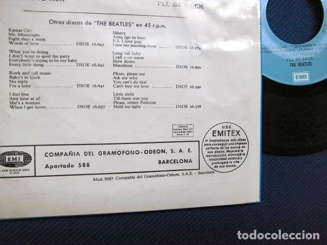 Discos de vinilo: BEATLES SINGLE EP RE EDICION BANDA SONORA QUE NOCHE LA DE AQUEL DIA ESPAÑA AÑOS 70 LABEL AZUL CIELO - Foto 6 - 253789200