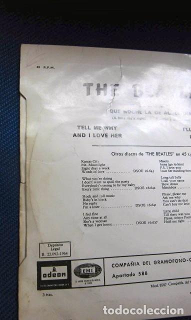 Discos de vinilo: BEATLES SINGLE EP RE EDICION BANDA SONORA QUE NOCHE LA DE AQUEL DIA ESPAÑA AÑOS 70 LABEL AZUL CIELO - Foto 7 - 253789200