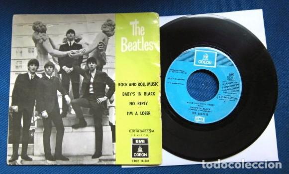 BEATLES SINGLE EP RE EDICION EDITADO POR EMI ODEON ESPAÑA ORIGINAL AÑOS 70 CAMBIO COLOR FRANJA FUNDA (Música - Discos de Vinilo - EPs - Pop - Rock Internacional de los 70)