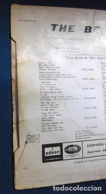 Discos de vinilo: BEATLES SINGLE EP RE EDICION EDITADO POR EMI ODEON ESPAÑA ORIGINAL AÑOS 70 CAMBIO COLOR FRANJA FUNDA - Foto 6 - 253789675