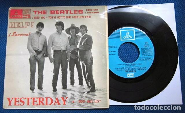 BEATLES SINGLE EP RE EDICION EDITADO POR EMI ODEON ESPAÑA ORIGINAL AÑOS 70 CONJUNTO MUSICAL BEAT (Música - Discos de Vinilo - EPs - Pop - Rock Internacional de los 70)