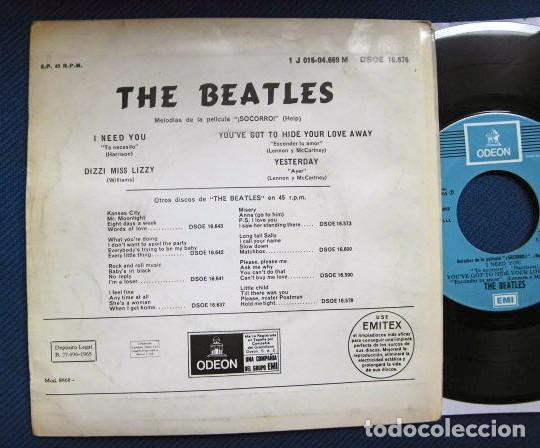 Discos de vinilo: BEATLES SINGLE EP RE EDICION EDITADO POR EMI ODEON ESPAÑA ORIGINAL AÑOS 70 CONJUNTO MUSICAL BEAT - Foto 3 - 253790040