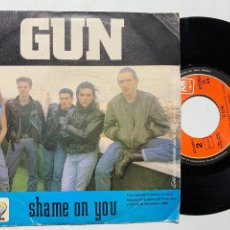 Discos de vinilo: SINGLE EP GUN SHAME ON YOU EDICIÓN PROMO ESPAÑOLA DE 1989. Lote 253839225