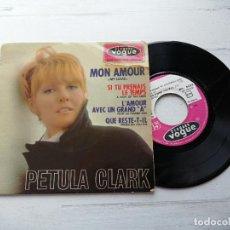Discos de vinilo: PETULA CLARK – MON AMOUR + 3 EP FRANCIA 1966 VG/VG VER EN FOTO EL CORTE EN PORTADA. Lote 253878455