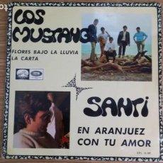 Discos de vinilo: ** LOS MUSTANG - FLORES BAJO LA LLUVIA / EN ARANJUEZ CON TU AMOR +1 - EP AÑO 1967 - LEER DESCRIPCIÓN. Lote 253884865