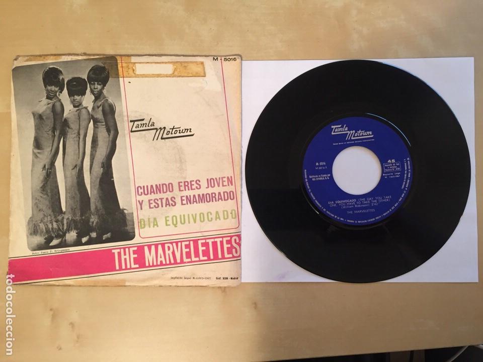 """Discos de vinilo: The Marvelettes - Cuando Eres Joven Y Estas Enamorado / Dia Equivocado PROMO RADIO 7"""" - 1967 SPAIN - Foto 3 - 253926705"""