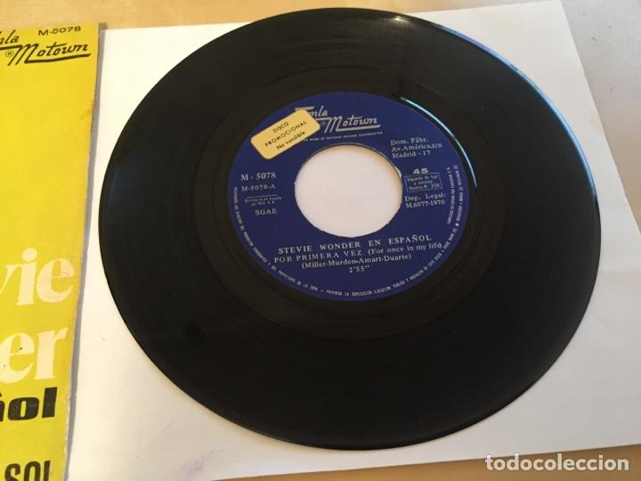 """Discos de vinilo: Stevie Wonder (En Español) - Por Primera Vez / Un Lugar En El Sol - PROMO SINGLE RADIO 7"""" - 1970 - Foto 3 - 253937025"""