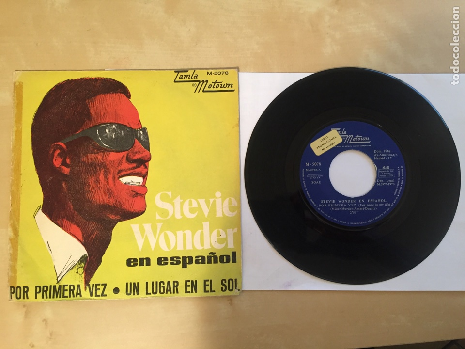 """STEVIE WONDER (EN ESPAÑOL) - POR PRIMERA VEZ / UN LUGAR EN EL SOL - PROMO SINGLE RADIO 7"""" - 1970 (Música - Discos - Singles Vinilo - Funk, Soul y Black Music)"""