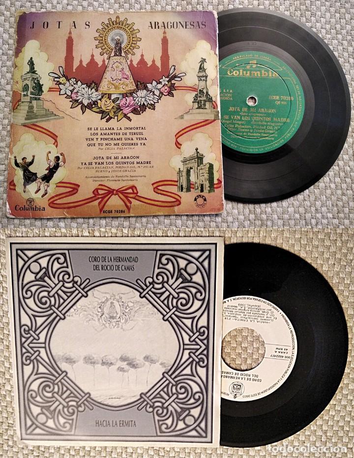 LOTE DE 2 DISCOS: HACIA LA ERMITA, CORO ROCIERO HERMANDAD DEL ROCÍO DE CAMAS, Y JOTAS ARAGONESAS (Música - Discos - Singles Vinilo - Étnicas y Músicas del Mundo)