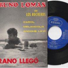 Discos de vinilo: BRUNO LOMAS CON LOS ROCKEROS - VERANO LLEGO + 3 (EP EMI-REGAL 1965). Lote 254023915