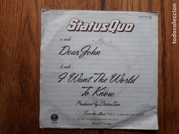 Discos de vinilo: Status quo - dear john (querido John) + i want the world to know - Foto 2 - 254157815