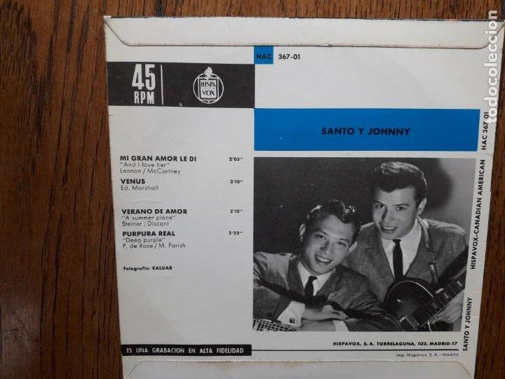 Discos de vinilo: Santo y johnny - mi gran amor les di (and i love her - the beatles) + Venus + verano de amor + 1 - Foto 2 - 254167105