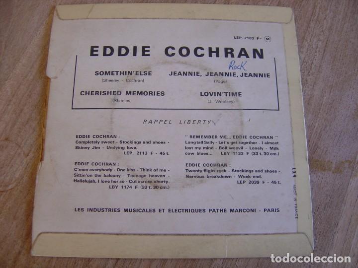 Discos de vinilo: EP 45 RPM. EDDIE COCHRAN. - SOMETHIN ELSE - LIBERTY. PROBADO. - Foto 4 - 254186375