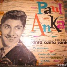 Discos de vinilo: PAUL ANKA - CANTA CANTA CANTA EP - ORIGINAL ESPAÑOL - HISPAVOX RECORDS 1959 - MONOAURAL. Lote 254195015