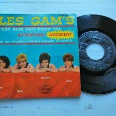 Discos de vinilo: LES GAM'S – C'EST BIEN FAIT POUR TOI + 3 EP FRANCIA 1963 VINILO VG/PORTADA VG. Lote 254202910