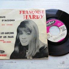 Discos de vinilo: FRANCOISE HARDY* – J'SUIS D'ACCORD / TOUS LES GARÇONS ET LES FILLES EP FRANCIA 1962 VG+/VG+. Lote 254213065