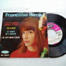 Discos de vinilo: FRANÇOISE HARDY – C'EST A L'AMOUR AUQUEL JE PENSE + 3 EP FRANCIA 1962 VG++/VG++ NO CENTER. Lote 254214655