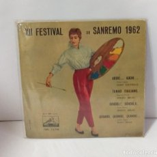 Discos de vinilo: XII FESTIVAL DE SAN REMO 1962 CHICO VALENTO EL TWISTER ESPAÑOL. Lote 254232125