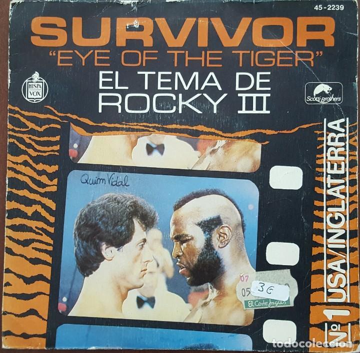 SINGLE / SURVIVOR - EYE OF THE TIGER (TEMA DE ROCKY III), 1982 (Música - Discos de Vinilo - Singles - Pop - Rock Internacional de los 80)