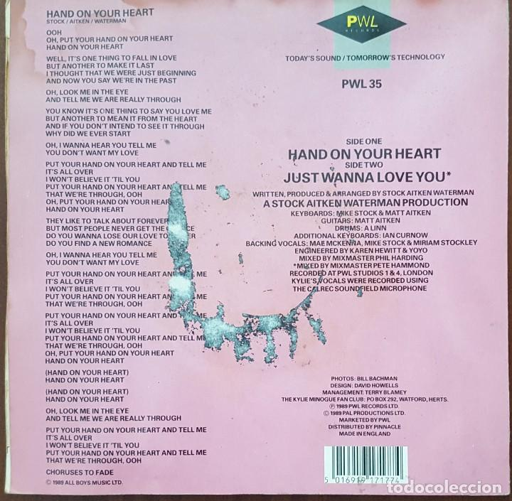 Discos de vinilo: SINGLE / KYLIE MINOGUE - HAND ON YOUR HEART, 1989 UK - Foto 2 - 254260980