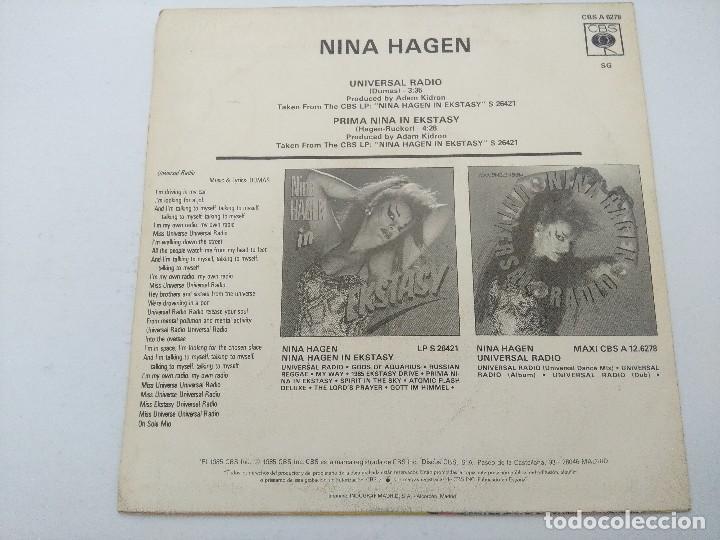 Discos de vinilo: NINA HAGEN/UNIVERSAL RADIO/SINGLE PUNK PROMOCIONAL. - Foto 3 - 254402265