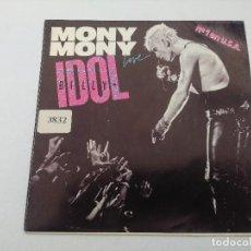 Discos de vinilo: BILLY IDOL/MONY MONY LIVE/SINGLE PUNK.. Lote 254403580