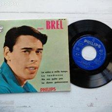 Discos de vinilo: JACQUES BREL – LA VALSE À MILLE TEMPS + 3 EP SPAIN 1967 EX/EX ERROR: NE ME QUITE PAS NO SUENA. Lote 254414075