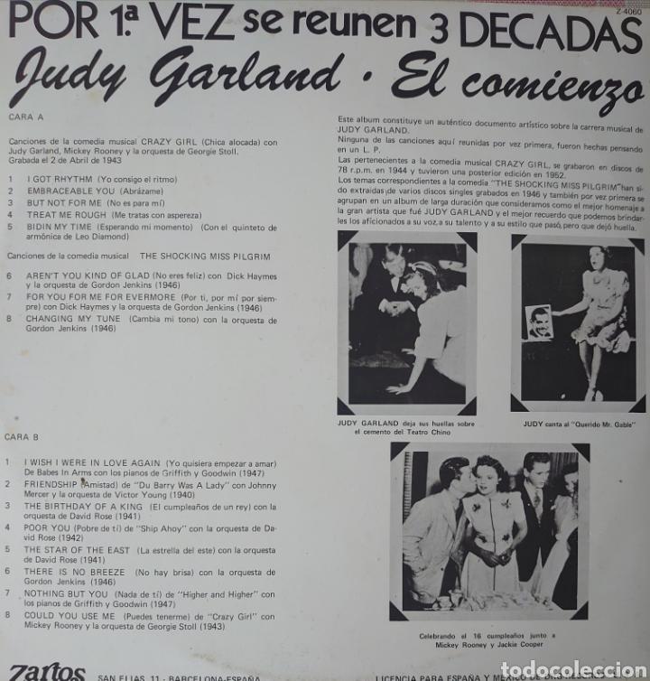 Discos de vinilo: Judy Garland Lp sello Zartos editado en España año 1980.. - Foto 2 - 254437300