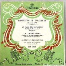 Discos de vinilo: ROMANZAS DE ZARZUELAS - SELECCION Nº 6 - SINGLE. Lote 254484665