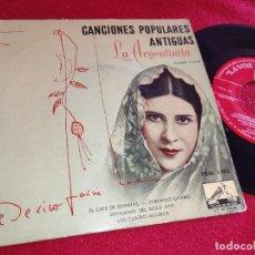 Discos de vinilo: LA ARGENTINITA ZORONGO GITANO/CUATRO MULEROS +2 EP 1958 CON FEDERICO GARCIA LORCA AL PIANO CANCIONES. Lote 254584085
