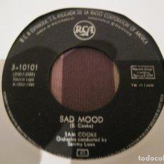 Discos de vinilo: SINGLE SAM COOKE RCA 10101 SPAIN 1960 SAD MOOD/LOVE ME SIN PORTADA SOLO DISCO. Lote 254609155