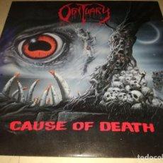 Discos de vinilo: OBITUARY-CAUSE OF DEATH-CONTIENE ENCARTE-EDICIÓN ORIGINAL EUROPEA 1990. Lote 254633355