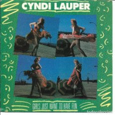 Discos de vinilo: CYNDI LAUPER - GIRLS JUST WANT TO HAVE FUN + RIGHT TRACK WRONG TRAIN SINGLE SPAIN 1984. Lote 254638275